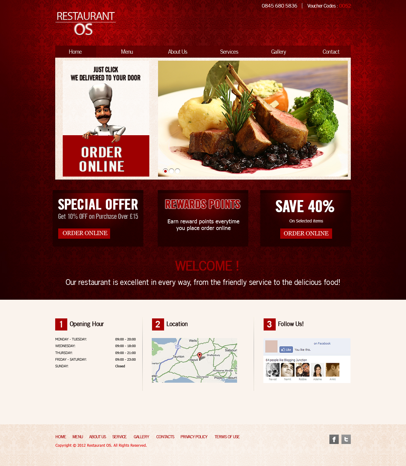 Restaurant, Fast Food, Takeaway Pizza Website Templates